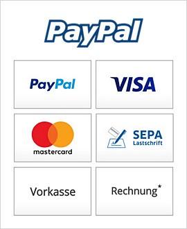 Wir akzeptieren folgende Zahlungsarten.